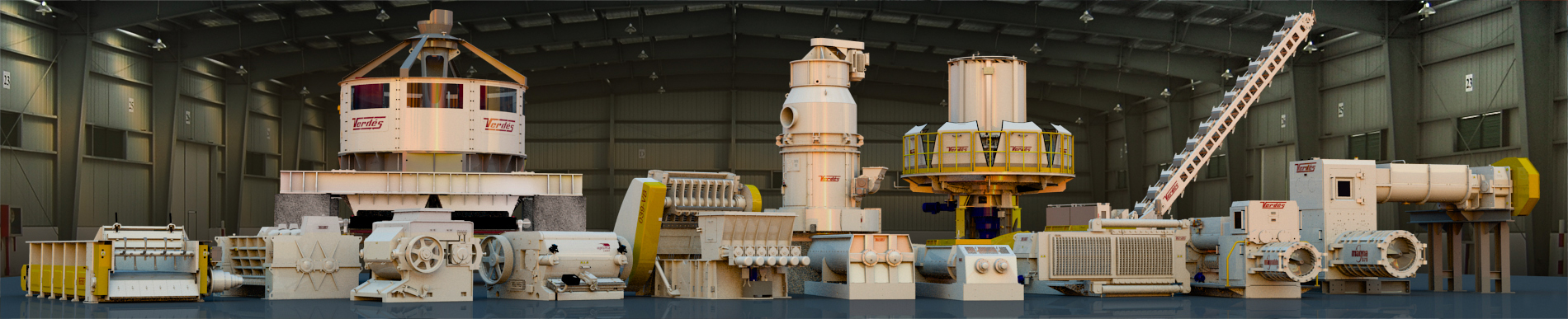 Verdés machines for grinding, crushing and extrusion of clay, minerals and wastes